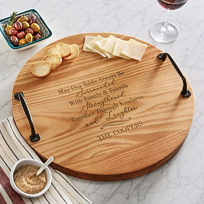 Spread Love Round Wood Barrel Tray