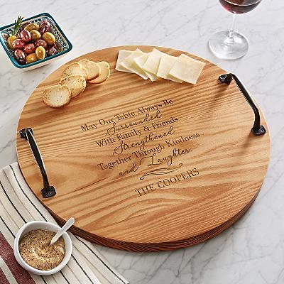Spread Love Round Wood Barrel Tray