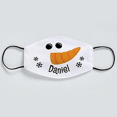 Smiling Snowman Adult Face Mask
