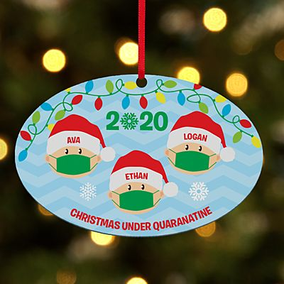 Holiday Quarantine Family Oval Ornament