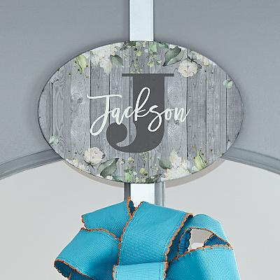 Barnwood Floral Name Plaque with Decorative Wreath Holder