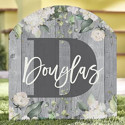 Barnwood Floral Name Wooden Outdoor Sign
