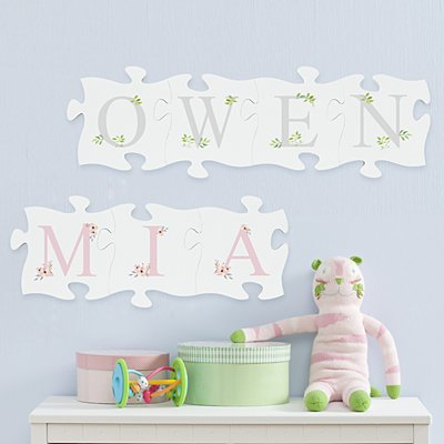 Elegant Baby Name Mini Wood Puzzle Set