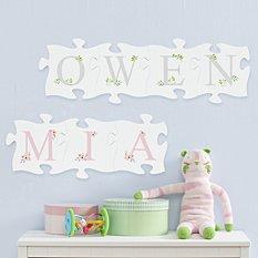 Elegant Baby Name Mini Wood Puzzle Set