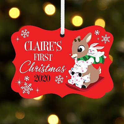 Rudolph® Baby's First Christmas Scroll Bauble