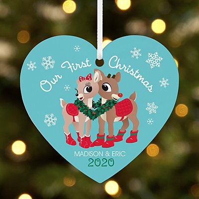Rudolph® Our First Christmas Couple Heart Bauble