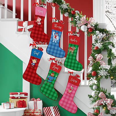 Rudolph® Scallop Plaid Character Stockings