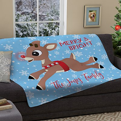 Rudolph® Snowflake Plush Blanket