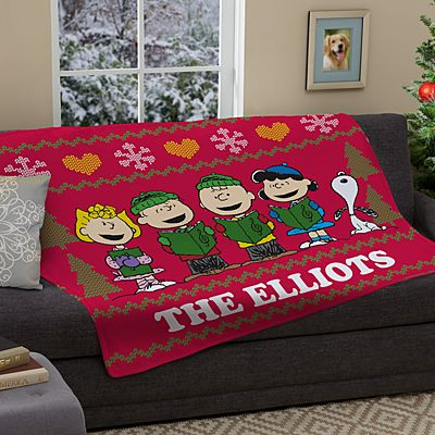 PEANUTS® Christmas Sweater Plush Blanket