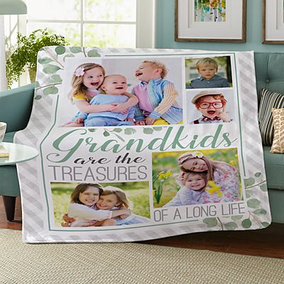 Grandkids Are Treasures Photo Plush Blanket