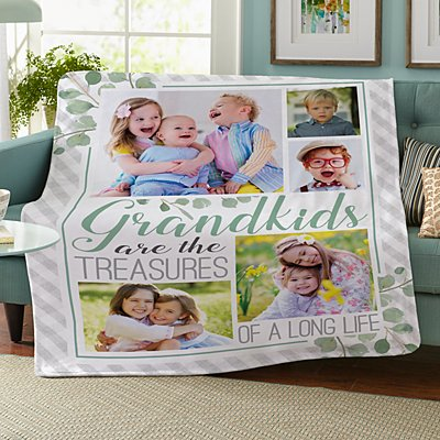 Grandkids Are Treasures Photo Plush Blanket