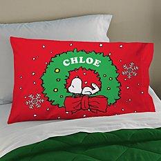 PEANUTS® Snoopy™ Holiday Wreath Pillowcase