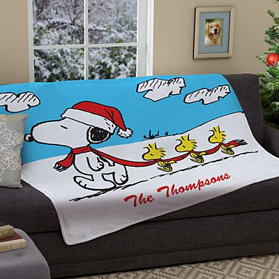 PEANUTS® Winter Fun Snoopy™ & Woodstock™ Plush Blanket