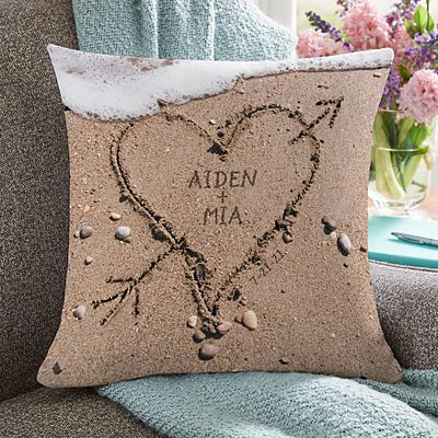 Heart in Sand Wedding Pillow