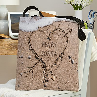 Heart in Sand Wedding Tote