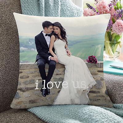 I Love Us Wedding Photo Cushion