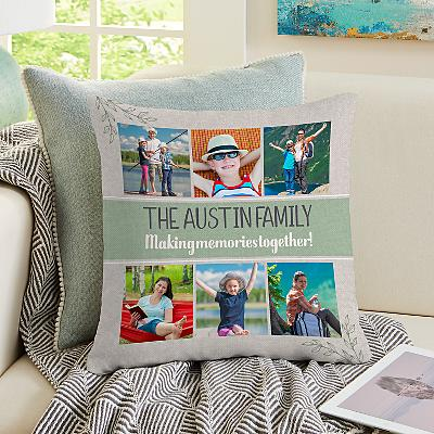 Our Family Holiday Photo Cushion