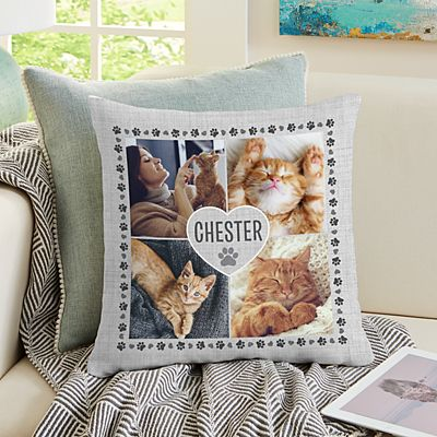 Pawprints on My Heart Pet Photo Pillow