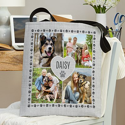 Pawprints on My Heart Pet Photo Tote