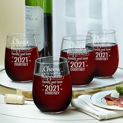 Cheers to a New Year Stemless Wine Glass