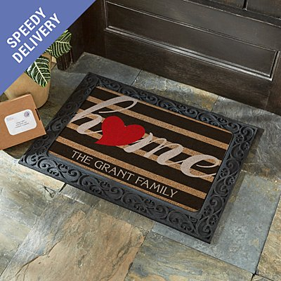 Striped Heart Home Doormat