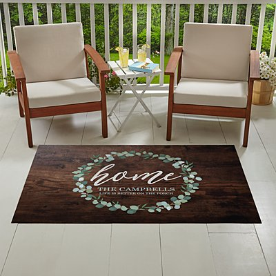 Oversized Leafy Home Outdoor Mat