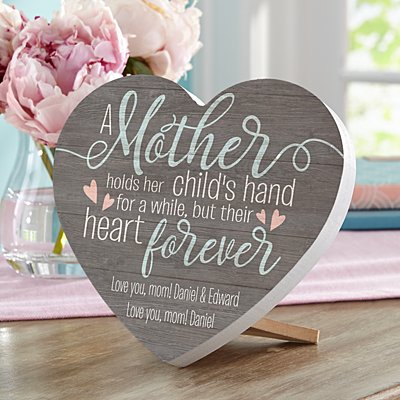 A Mother Holds Her Childs Hand Mini Wood Heart