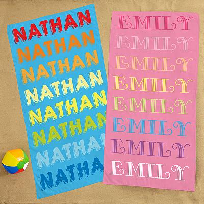 Rainbow Name Beach Towel
