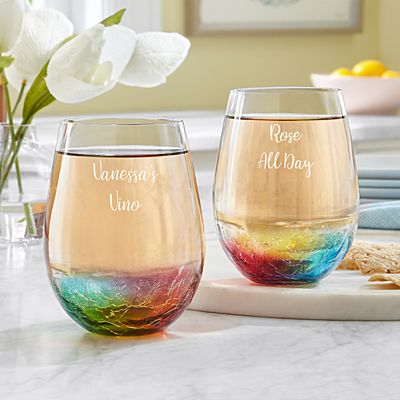 Rainbow Prism Stemless Wine Glass