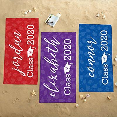 Yay Grad! School Colors Beach Towel