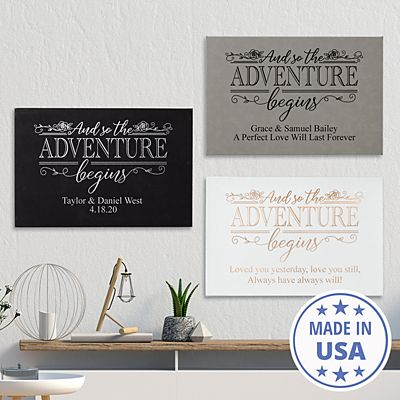 Adventure Begins Leather Wall Art