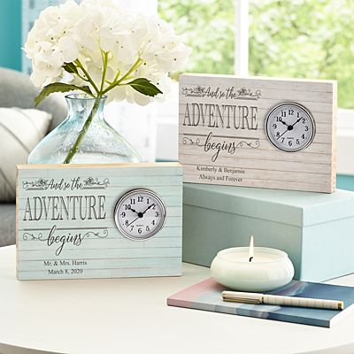 Adventure Begins Wood Clock