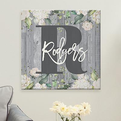Barnwood Floral Name Canvas