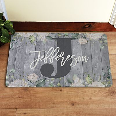Barnwood Floral Name Doormat