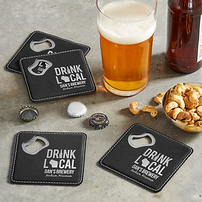 Drink Local Bottle Opening Coasters