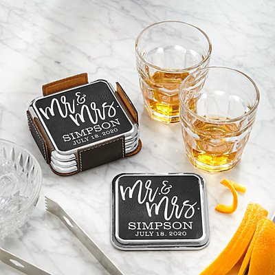 Modern Couple  Leatherette Coasters & Holder Set