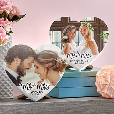 Modern Couple Photo Mini Wood Heart