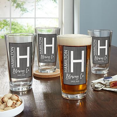 Modern Monogram Pub Glass