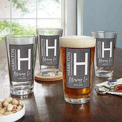 Modern Monogram Pint Beer Glass