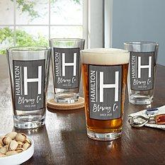 Modern Monogram Pint Beer Glass