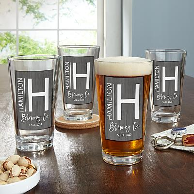 Modern Monogram Pint Glass