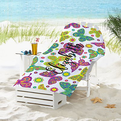 Colourful Butterflies Beach Towel