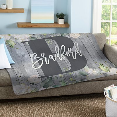 Barnwood Floral Name Plush Blanket
