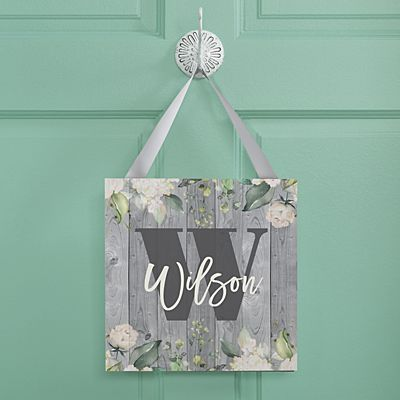 Barnwood Floral Name Wood Sign