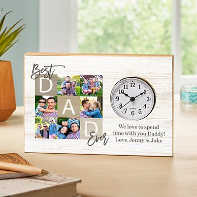 Best Dad Ever Photo Wood Clock