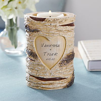 Carved Heart Candle Holder