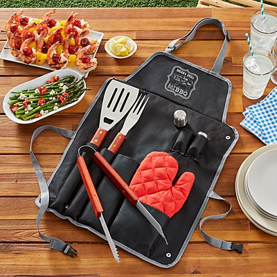 Eat Drink BBQ Apron Set