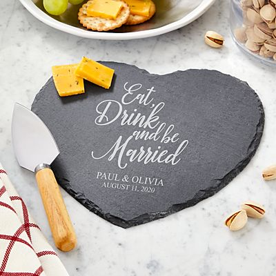 Eat, Drink & Be Married Heart Slate Server