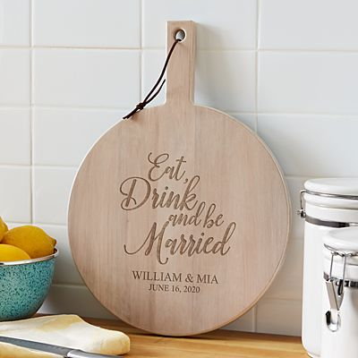 Eat, Drink & Be Married Round Wood Server