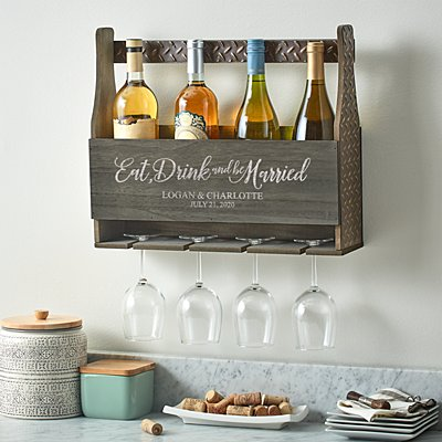 Eat, Drink & Be Married Wood Wine Rack